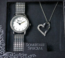 Ravel Ladies Expander Watch and Crystal Heart Pendant Necklace Gift Set, Boxed