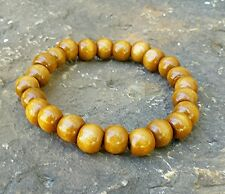 MENS GUYS BRACELET TAN WOOD WOODEN BEAD MALA PRAY NATURAL JEWELRY HANDMADE GIFT