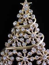 GOLD CLEAR RHINESTONE  SNOWFLAKE CHRISTMAS TREE PIN BROOCH PENDANT JEWELRY 1.75""