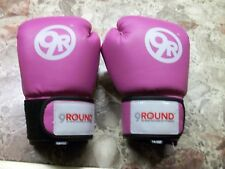 WOMANS PINK BOXING GLOVES  9 ROUND 30 MINUTE KICKBOXING FITNESS..14 OZ EX COND.