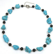 "18"" Beautiful Blue Simulated Turquoise Necklace w/ Black Beads with Toggle Clasp"