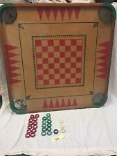 "Vintage Carrom Wood Game Board 28"" x 28"" With Some Game Pieces"