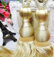 "11"" Luxury Curtain Drapery Tassel Tieback Holdback  Large PALE GOLD / YELLOW"
