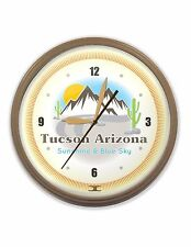 "Tucson Neon Clock Hand Made In The USA, 20"" One-Of-A-Kind"