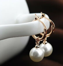 18K Rose Gold GP Lovely Dangle Droplets Small Hoop Earrings Free Shipping BR561
