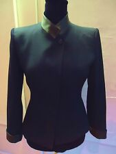 ARMANI IMMACULATE  TAILORED WOOL JACKET WITH LEATHER  42 [UK 10]