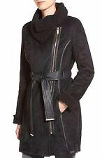 Badgley Mischka Women Mid Length Belted Asymmetrical Faux Shearling Coat  Sz L