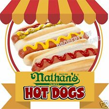 "Nathan's Hot Dogs Decal 14"" Food Truck Concession Cart Catering Restaurant Menu"