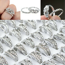 Wholesale 5pair Lots Mixed Silver Plated Crystal Rhinestone Rings Jewelry Gifts