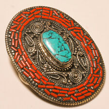 WONDERFUL MEN'S & WOMEN'S TURQUOISE & RED CORAL AWESOME .925 SILVER BELT BUCKLE