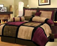7-Piece Micro Suede Patchwork Duvet Cover Set Brown/Burgundy/Black Queen