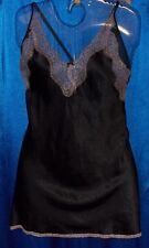 Black satin sexy short gown pajama nightgown+ecru lace L Large Victoria's Secret