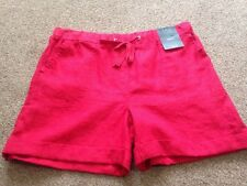 M&S  Women Red 100% Linen Shorts Holiday Beach BNWT Size 12 Free Sameday Postage