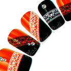 Nail Art Water Transfers Decals Lace Butterfly Swirl Heart Black White S059