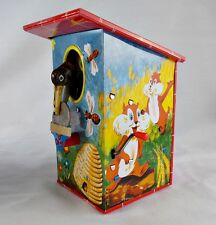 Vintage Tin Coin Bank Bird House Hand Crank Mechanical Germany w/Box