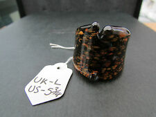 A BROWN & COPPER MURANO/ DICHROIC STYLE GLASS RING. UK SIZE L -- US 5.75   (60)