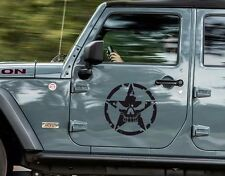 "2x14"" Skull Military Star Helmet Vinyl Sticker Decal (for Wrangler Rubicon)"