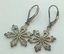 "Sterling Silver Earrings Snowflakes 1.25"" Drop From Top Of Dangle"