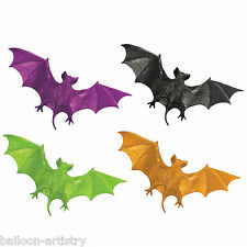 12 Haunted Halloween Neon Colours Plastic BATS Party Loot Gifts Toys Favours