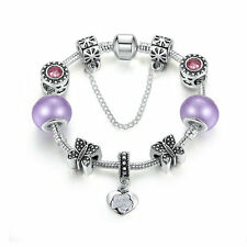 20cm Silver Plated Charms Bracelet European Purple Murano Beads DIY For Women