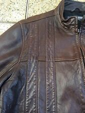 Kenneth Cole Reaction Mens Brown Genuine Soft Leather Jacket Large Racing