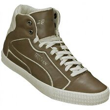 ALEXANDER MCQUEEN PUMA STREET CLIMB II MID LEATHER SNEAKERS IN BROWNSTONE US 12