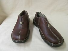 Used 6.5 M Eastland 3321 Brown Leather Slip On Loafers Contrast Stitching Detail