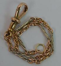 "Victorian 15ct Gold Twist Link Ladies Pocket Watch Chain 7"" Long Bracelet t0780"