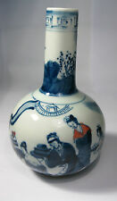 Collectible Chinese blue and white porcelain handwork painting people and plant