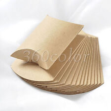 50pcs Kraft Brown Paper Pillow Gift Boxes Candy Box Wedding Party Favors Bags