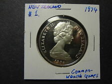 "NEW ZEALAND 1974 PROOF SILVER $1 DOLLAR "" COMMONWEALTH GAMES """