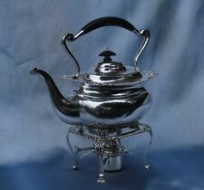 ANTIQUE SOLID SILVER TEA KETTLE ON STAND WITH BURNER LONDON 1925 WILSON & SHARP