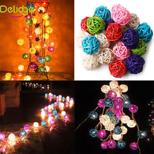 20Pcs Multi Color Rattan Ball Wedding Party Festival Xmas Light Ornament Decor