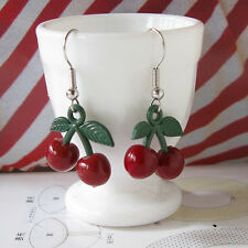 Harajuku Kawaii Retro Rockabilly Lolita Dark Red Cherry Kitsch Dangle Earrings