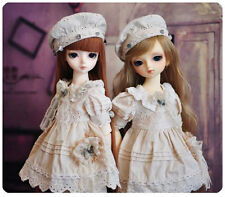 1/3 BJD sd13 girl doll outfits beige dress set with hat super dollfie #D-18