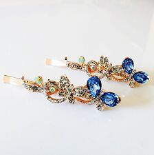USA Bobby Pin Using Swarovski Crystal Hair Clip Hairpin Butterfly Blue Gold J33