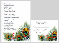100 Personalized Custom Peacock Feather Swirl Bridal Wedding Invitations Set