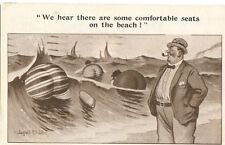OLD post card  humor funny man on beach large women's rear-ends bums asses