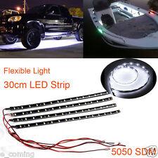 4x 30cm 5050 15 LED Auto Lkw Flexibel Wasserdicht Lampe Streifen Cool Kalt weiß