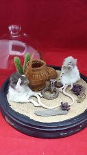 *Taxidermy Rat(s) Snake Charmer Glass Dome Display w/ FAUX Plastic cobra
