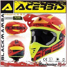 ACERBIS CASCO PROFILE 3.0 BLACKMAMBA MX MOTOCROSS OFFROAD ROSSO/GIALLO TAGLIA M