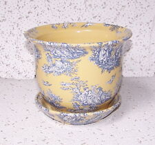 """5"""" YELLOW BLUE TOILE CERAMIC PLANTER WITH SAUCER FLOWER POT HOME ACCENT DECOR"""