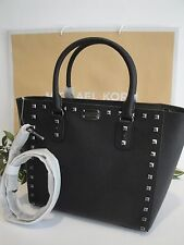MICHAEL KORS SAFFIANO STUD LARGE TOTE SHOULDER LEATHER BAG BLACK GUNMETAL $468