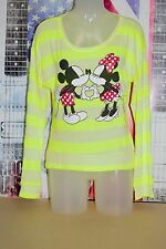 DISNEY MICKEY AND MINNIE MOUSE STRIPPED NEON GREEN CARDIGAN SWEATER HEART LOVE L