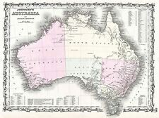 1861 JOHNSON AND BROWNING MAP AUSTRALIA 1ST EDITION VINTAGE POSTER 2929PYLV