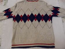 WOMAN'S SMALL CHRISTOPHER & BANKS ARGYLE COTTON TWEED CARDIGAN SWEATER EC!