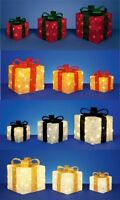 Premier Decorations Set of 3 Light up Decorative Glitter Christmas Parcels