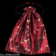 Wine Red Handmade Embroidered Pomegranate Flower Shoes Silk Clothes Shoes Bag