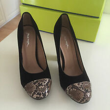 Damenschuhe Pumps High Heels Schwarz mit Schlangenprint EUR Gr. 39 US 8 UK 6