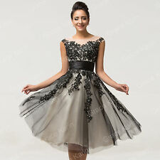 50s Black Tulle Cocktail Party Formal Evening Gown Bridesmaid Short Prom Dresses